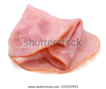 Closeup of thin slices of ham - stock photo