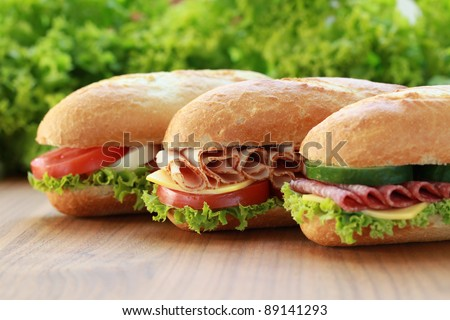 Closeup of three fresh sandwiches with turkey, salami and mozzarella - stock photo