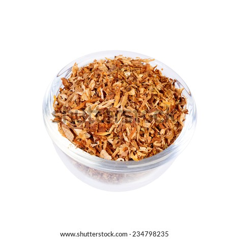 Closeup of tobacco for making cigarette isolated on white - stock photo