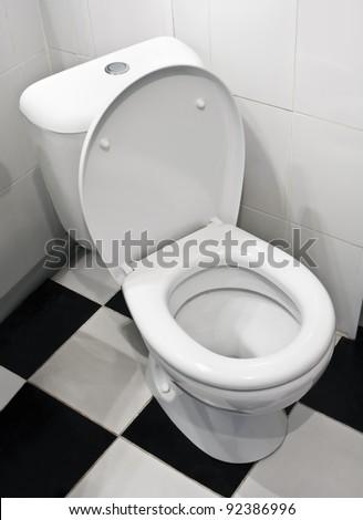 Closeup of toilet - stock photo