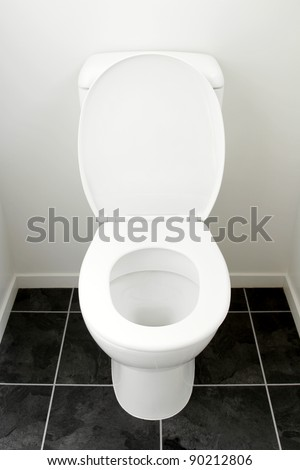 Closeup of toilet, lid open - stock photo