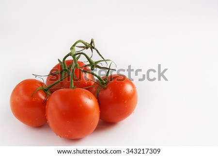 Closeup of tomatoes on the vine on a white background - stock photo