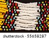 closeup of traditional african bead work - stock photo