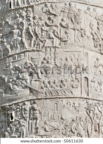 Closeup of Trajan's Column relief. Piazza Venezia. Rome. Italy. More of this motif & more Rome in my port. - stock photo