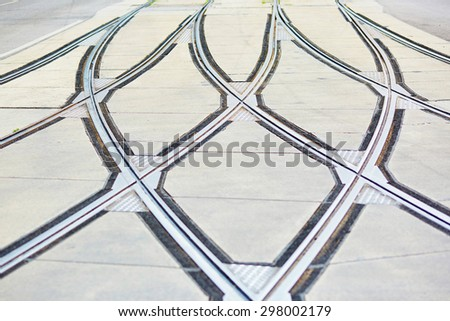 Closeup of tram rails intersection in Vienna, Austria - stock photo