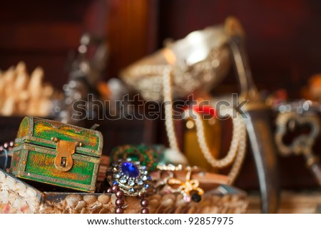 Closeup of Treasure chests with jewellery. Shallow DOF - stock photo