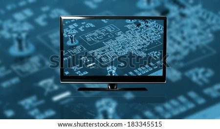 closeup of tv with electronics concept  - stock photo