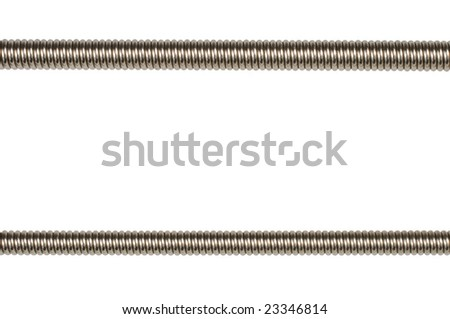 Closeup of two bass guitar strings isolated on white background - stock photo