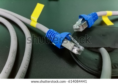 Closeup of two blue network ethernet cables on table
