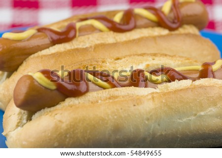 Closeup of two delicious hot dogs. - stock photo