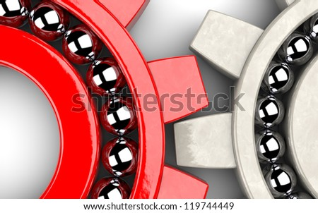 Closeup of two gear bearings illustrating team work as concept - stock photo
