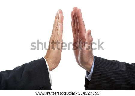 Closeup of two hand giving five, isolated background - stock photo