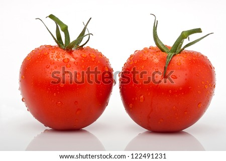 closeup of two juicy tomatoes with drops isolated against a white background
