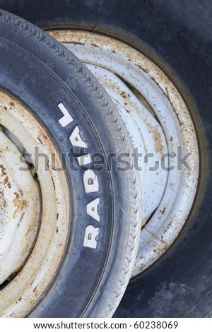 Closeup of two old radial tires