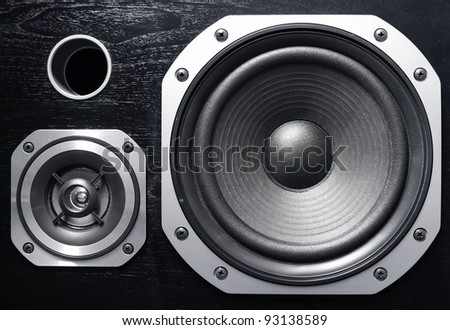 Closeup of two stereo speakers