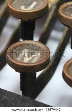 Closeup of typewriter keys - stock photo