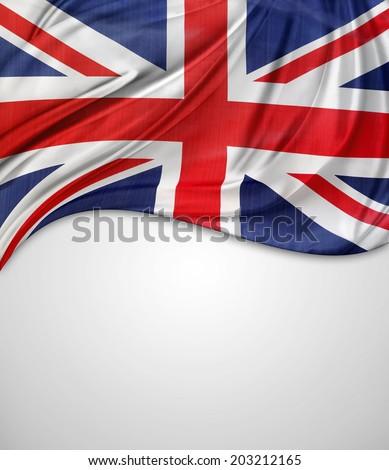 Closeup of Union Jack flag on plain background - stock photo