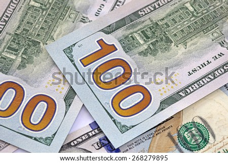 Closeup of United States of America One Hundred Dollar Note.