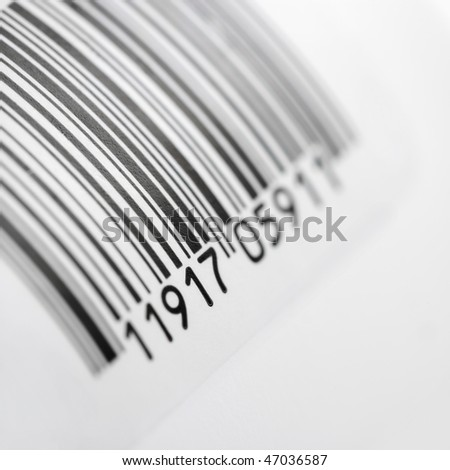 Closeup of Universal Product Code against white background. Square format. - stock photo