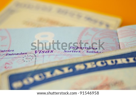 closeup of US government resident legal documents