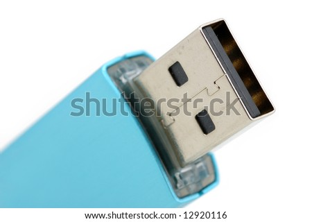 Closeup of usb flash drive in isolated white background