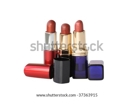 Closeup of various lipsticks on white background isolated with clipping path