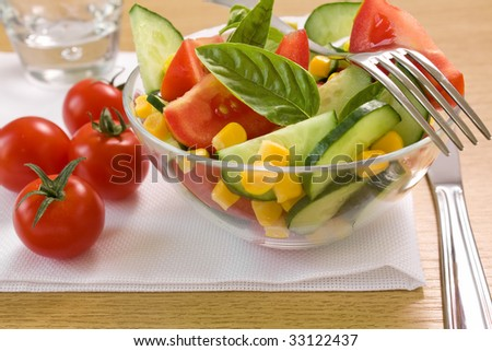 Closeup of vegetable salad and tomato on the table - stock photo