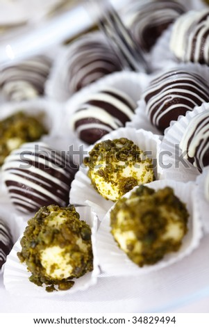 Closeup of very tasteful chocolate Truffles