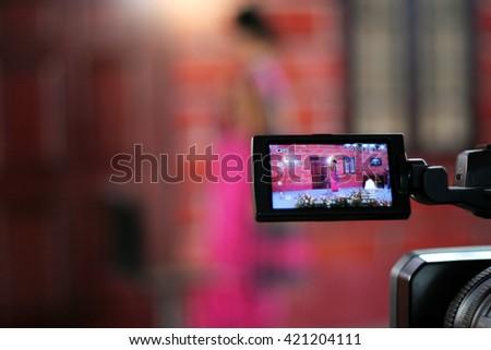 Closeup of Video camera viewfinder - stock photo