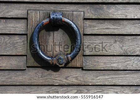 Closeup of viking door knocker. Wooden gate with copy space. & Closeup Viking Door Knocker Wooden Gate Stock Photo 555916147 ...