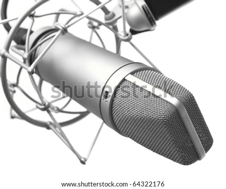closeup of vintage microphone on white background - stock photo