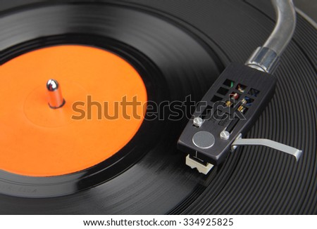Closeup of vintage record player