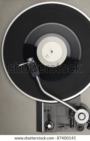 Closeup of vintage turntable, view from above - stock photo