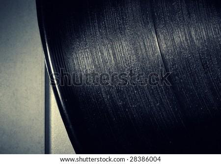 closeup of vintage vinyl record - stock photo