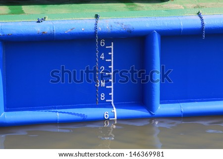 closeup of waterline marked on the ship