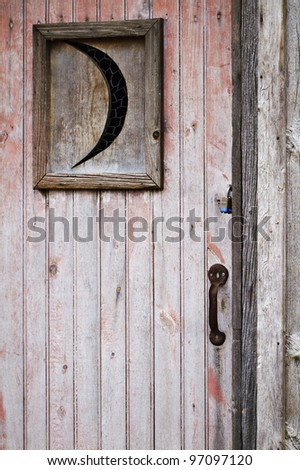 Closeup of weathered old wooden outhouse door with crescent moon window faded pink peeling paint & Closeup Weathered Old Wooden Outhouse Door Stock Photo (Royalty Free ...