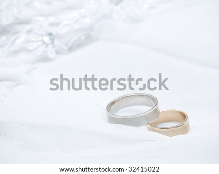 Closeup of wedding rings on a white veil