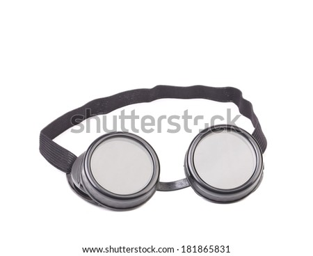 Closeup of welding glasses. Isolated on a white background.