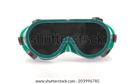 Closeup of welding glasses. Isolated on white background