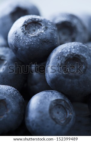 closeup of wet blueberries - stock photo