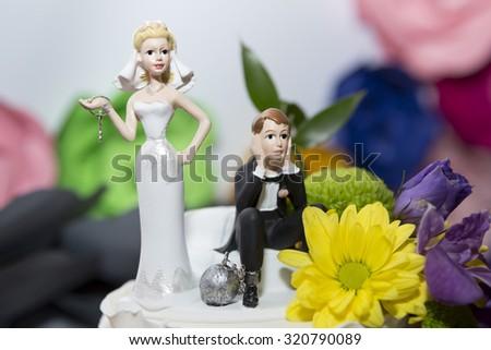 Closeup of whimsical wedding cake figurines on white with shallo - stock photo
