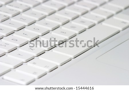 Closeup of white keyboard