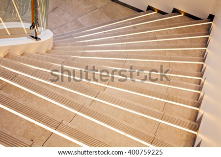 Closeup of white marble stairs, view from the top - stock photo