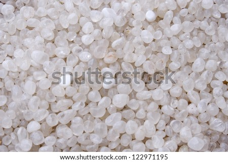 Closeup of White pebbles - stock photo
