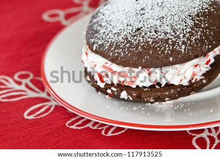 Closeup of whoopie pie. Traditional dessert from New England. - stock photo