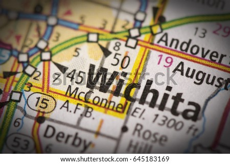 Closeup Of Wichita Kansas With Vignette Effect On A Road Map Of The United States