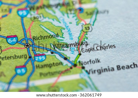Closeup of Williamsburg on a geographical map. - stock photo