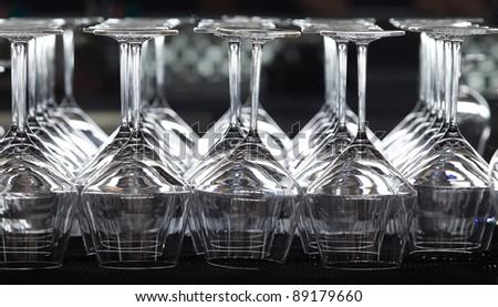 Closeup of wineglasses, selective focus - stock photo