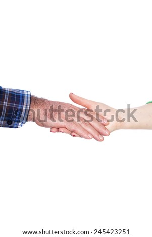 Closeup of woman  hand holding old man hand ,care concept, over white background - stock photo