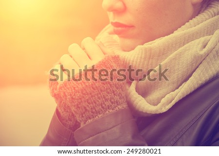 Closeup of woman hand in gloves - stock photo